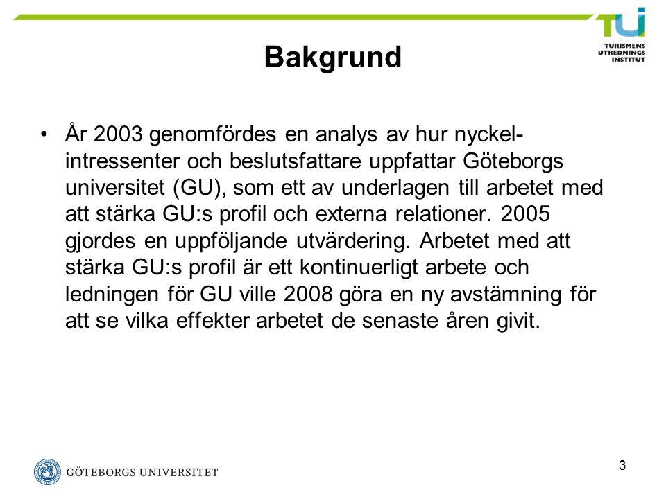 3 Bakgrund År 2003 genomfördes en analys av hur nyckel- intressenter och beslutsfattare uppfattar Göteborgs universitet (GU), som ett av underlagen ti