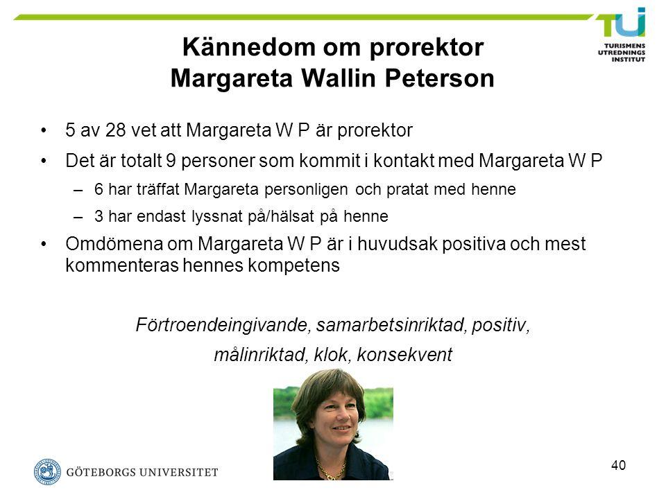 40 Kännedom om prorektor Margareta Wallin Peterson 5 av 28 vet att Margareta W P är prorektor Det är totalt 9 personer som kommit i kontakt med Margar