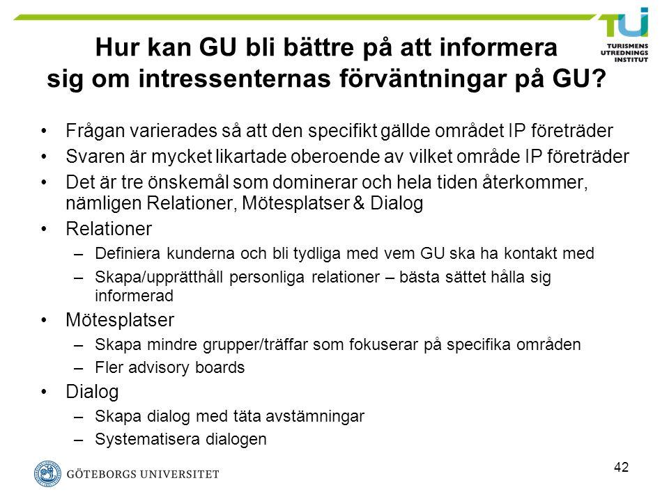42 Hur kan GU bli bättre på att informera sig om intressenternas förväntningar på GU? Frågan varierades så att den specifikt gällde området IP företrä
