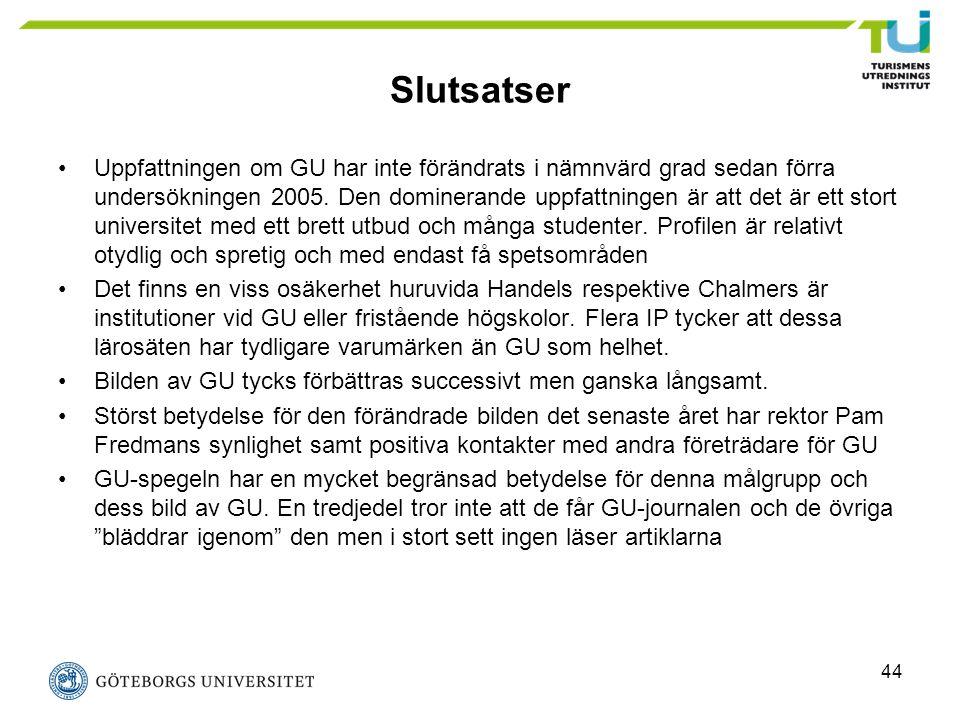 44 Slutsatser Uppfattningen om GU har inte förändrats i nämnvärd grad sedan förra undersökningen 2005. Den dominerande uppfattningen är att det är ett