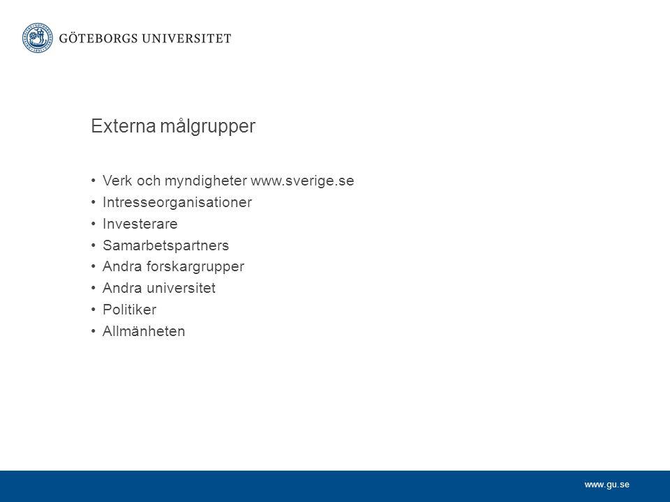 www.gu.se Externa målgrupper Verk och myndigheter www.sverige.se Intresseorganisationer Investerare Samarbetspartners Andra forskargrupper Andra unive