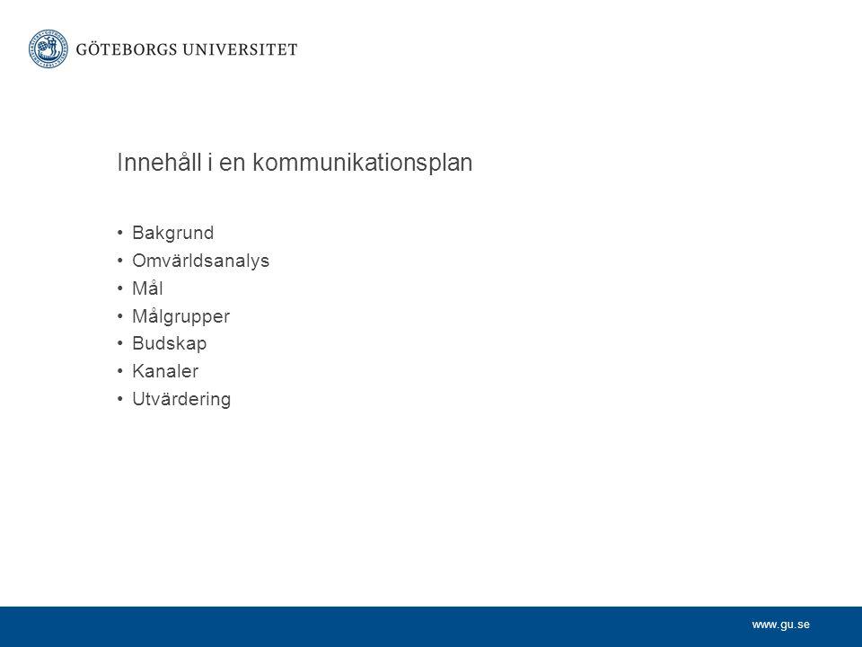 www.gu.se Glöm inte studenterna.