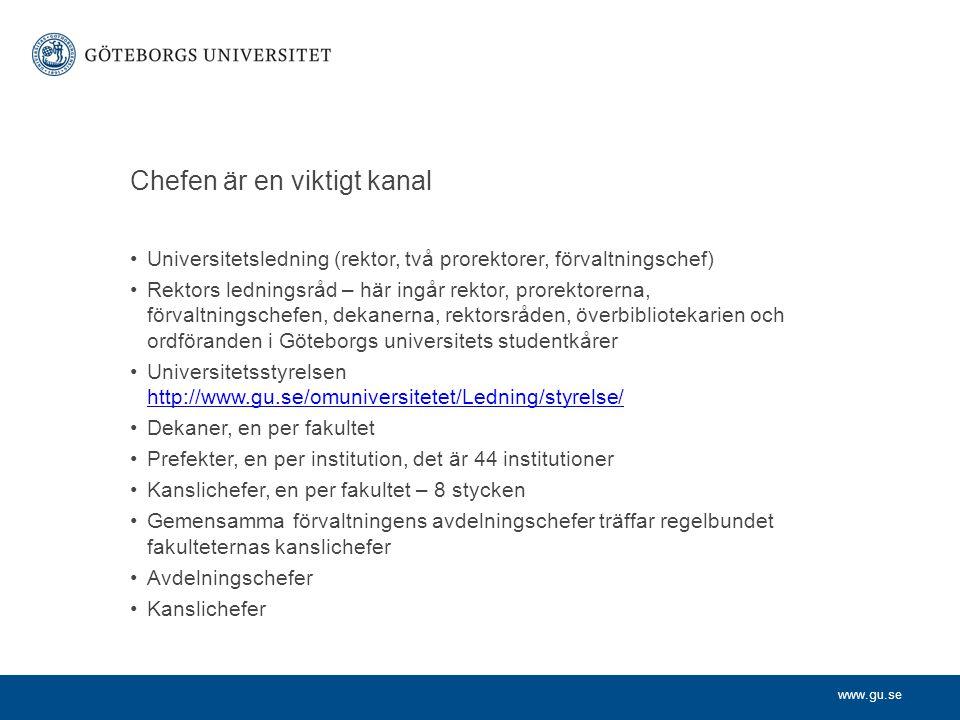 www.gu.se Chefen är en viktigt kanal Universitetsledning (rektor, två prorektorer, förvaltningschef) Rektors ledningsråd – här ingår rektor, prorektor