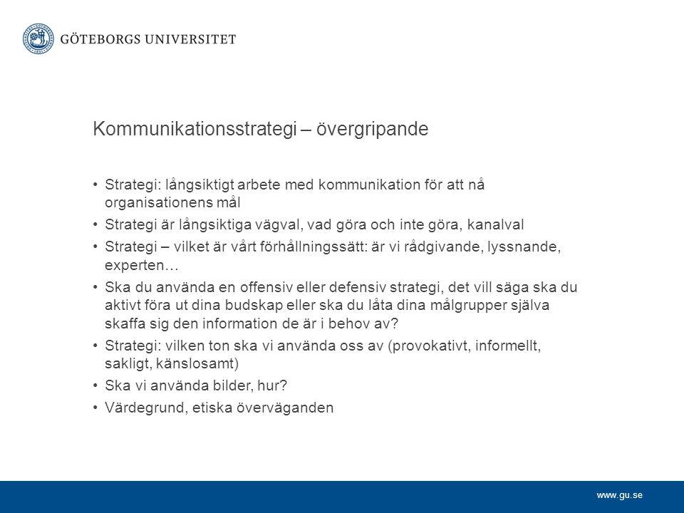 www.gu.se Kommunikationsstrategi – övergripande Strategi: långsiktigt arbete med kommunikation för att nå organisationens mål Strategi är långsiktiga