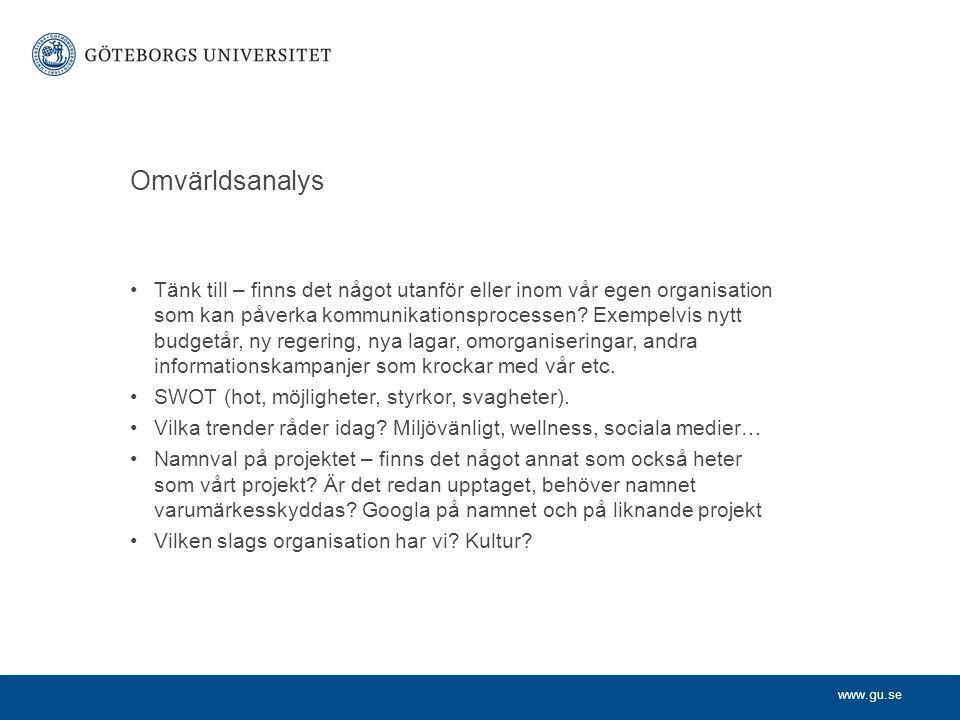 www.gu.se Avdelningen för analys och utvärdering Start januari 2009 Cecilia Bokenstrand är avdelningschef.