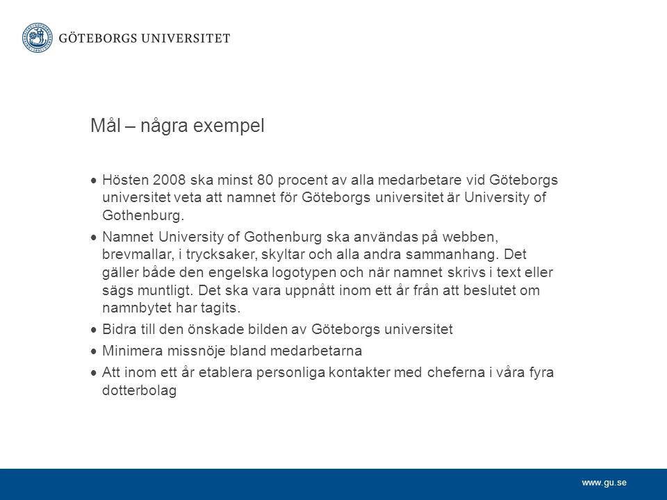 www.gu.se Mål – några exempel  Hösten 2008 ska minst 80 procent av alla medarbetare vid Göteborgs universitet veta att namnet för Göteborgs universit