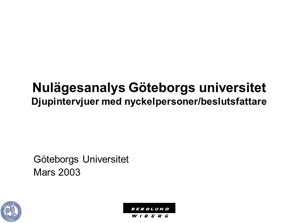 Nulägesanalys Göteborgs universitet Djupintervjuer med nyckelpersoner/beslutsfattare Göteborgs Universitet Mars 2003