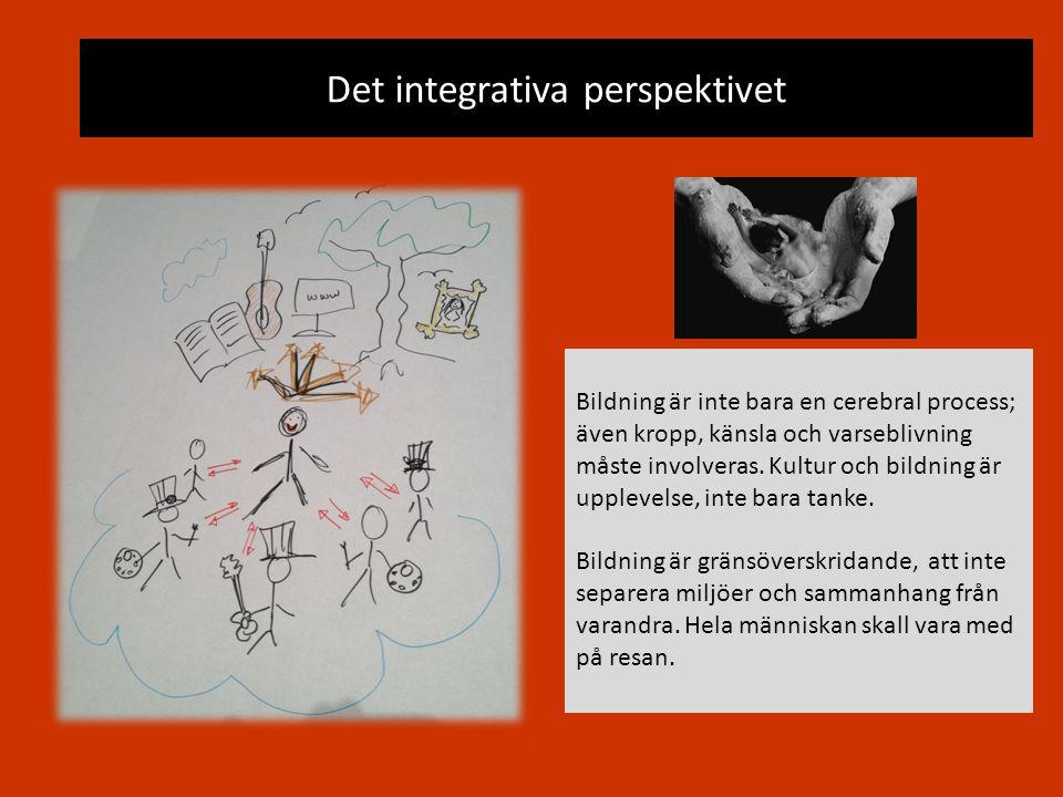Det integrativa perspektivet Bildning är inte bara en cerebral process; även kropp, känsla och varseblivning måste involveras. Kultur och bildning är