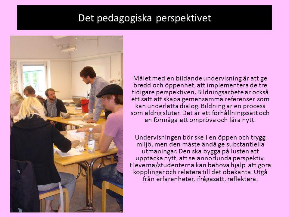 Det pedagogiska perspektivet Målet med en bildande undervisning är att ge bredd och öppenhet, att implementera de tre tidigare perspektiven. Bildnings