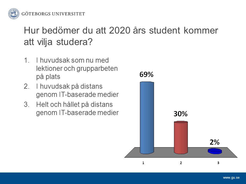 www.gu.se Hur bedömer du att 2020 års studentkommer att vilja studera.
