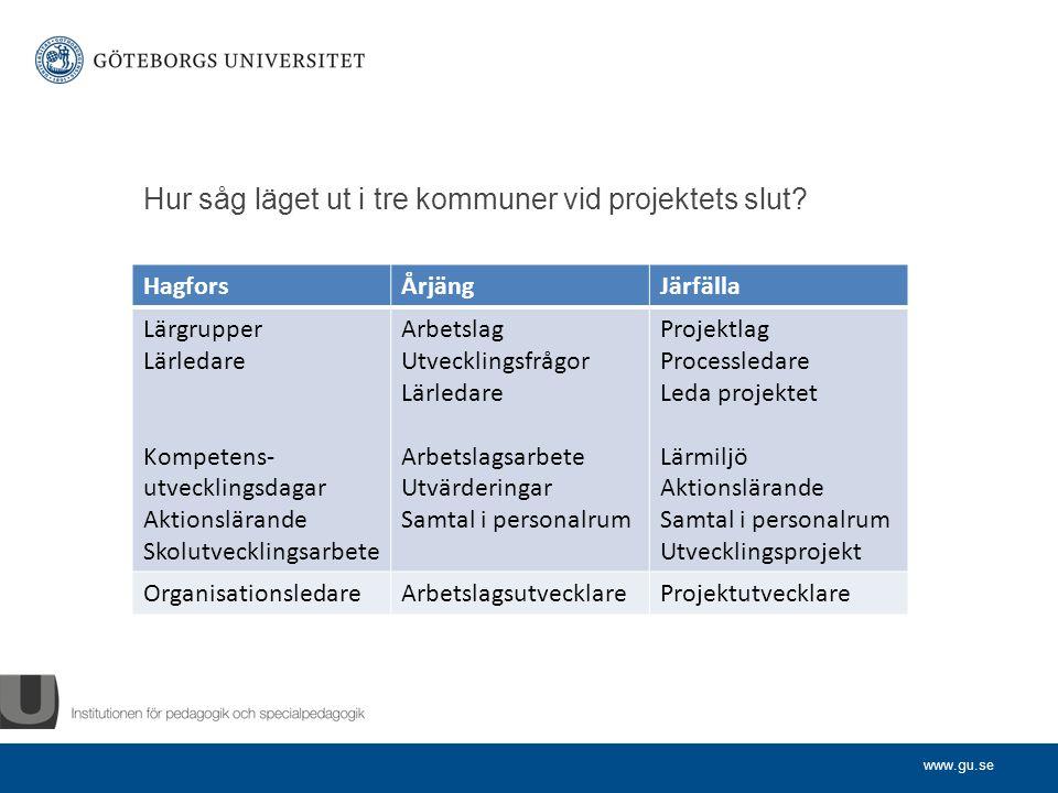www.gu.se Hur såg läget ut i tre kommuner vid projektets slut.