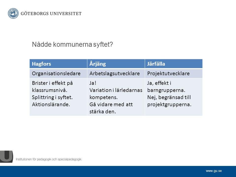 www.gu.se Nådde kommunerna syftet.