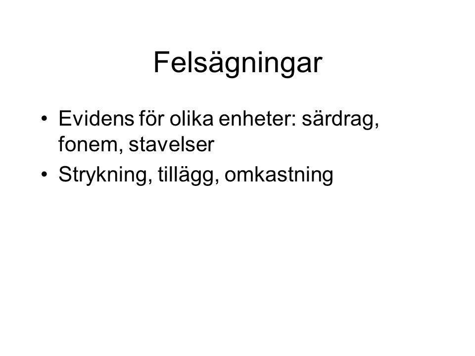 Felsägningar Evidens för olika enheter: särdrag, fonem, stavelser Strykning, tillägg, omkastning