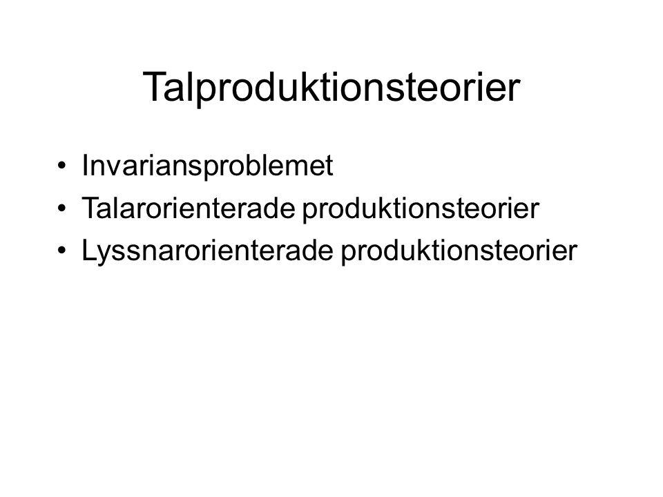 Talproduktionsteorier Invariansproblemet Talarorienterade produktionsteorier Lyssnarorienterade produktionsteorier