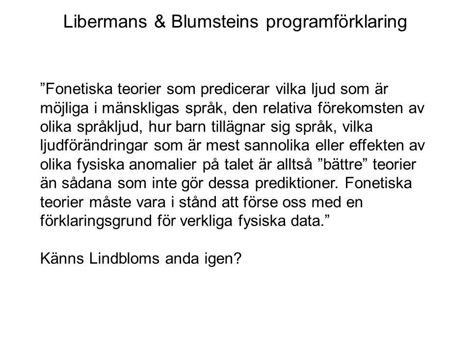 """Libermans & Blumsteins programförklaring """"Fonetiska teorier som predicerar vilka ljud som är möjliga i mänskligas språk, den relativa förekomsten av o"""