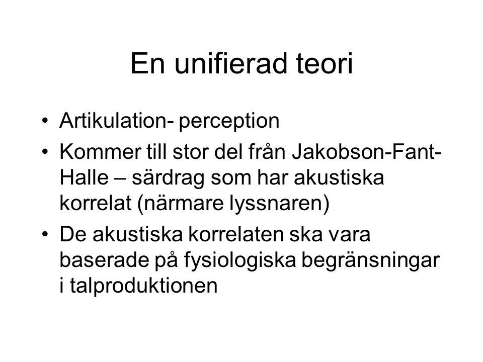 En unifierad teori Artikulation- perception Kommer till stor del från Jakobson-Fant- Halle – särdrag som har akustiska korrelat (närmare lyssnaren) De