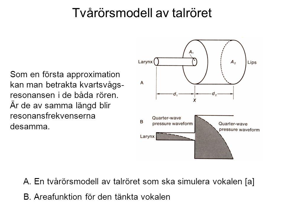 Tvårörsmodell av talröret A.En tvårörsmodell av talröret som ska simulera vokalen [a] B.Areafunktion för den tänkta vokalen Som en första approximatio