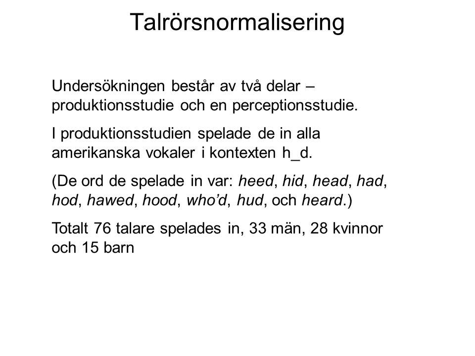 Talrörsnormalisering Undersökningen består av två delar – produktionsstudie och en perceptionsstudie. I produktionsstudien spelade de in alla amerikan