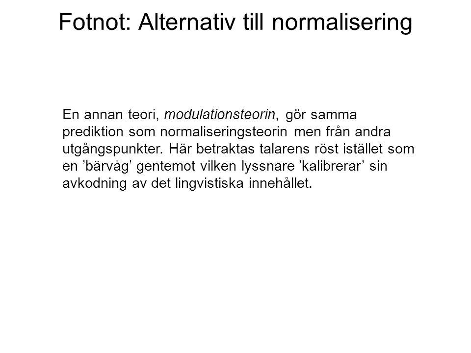 Fotnot: Alternativ till normalisering En annan teori, modulationsteorin, gör samma prediktion som normaliseringsteorin men från andra utgångspunkter.