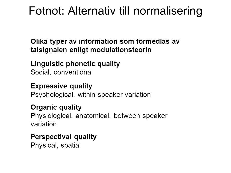 Fotnot: Alternativ till normalisering Olika typer av information som förmedlas av talsignalen enligt modulationsteorin Linguistic phonetic quality Soc