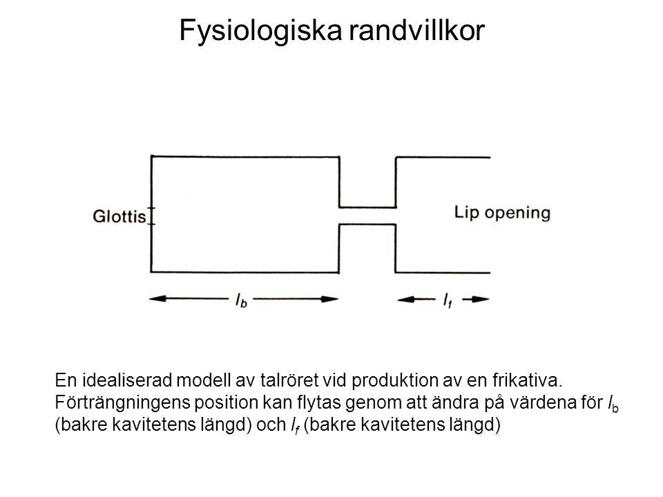 Fysiologiska randvillkor En idealiserad modell av talröret vid produktion av en frikativa. Förträngningens position kan flytas genom att ändra på värd