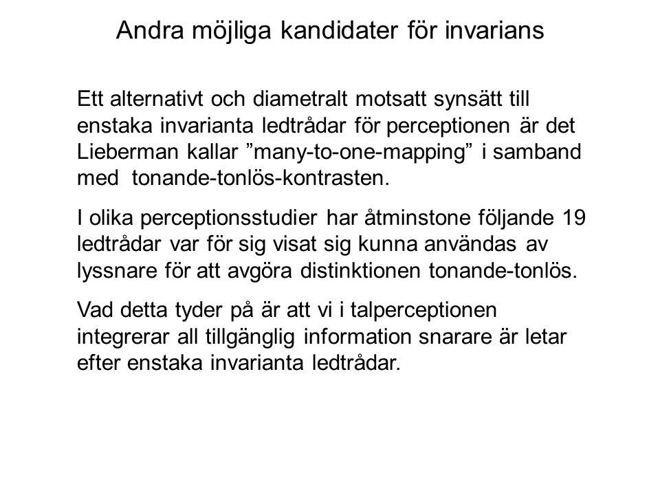 Andra möjliga kandidater för invarians Ett alternativt och diametralt motsatt synsätt till enstaka invarianta ledtrådar för perceptionen är det Lieber