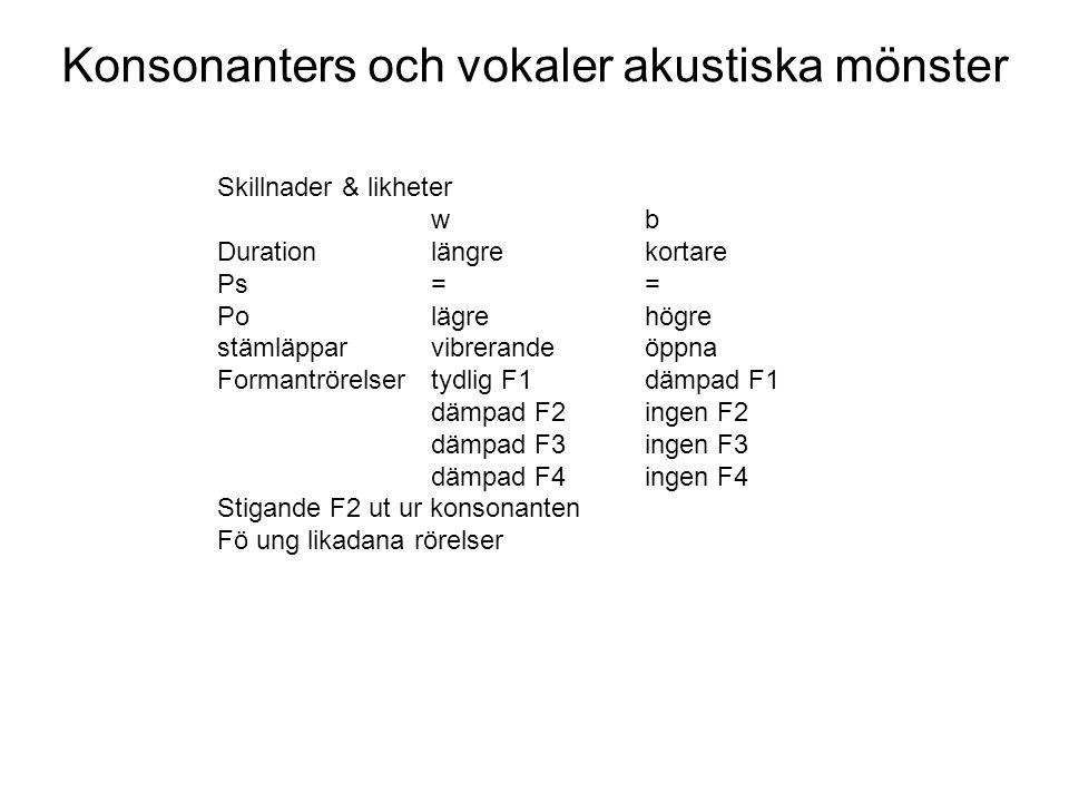 Konsonanters och vokaler akustiska mönster Notera att klusilen har betydligt abruptare onset