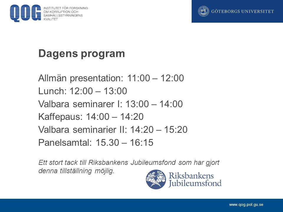 www.qog.pol.gu.se Dagens program Allmän presentation: 11:00 – 12:00 Lunch: 12:00 – 13:00 Valbara seminarer I: 13:00 – 14:00 Kaffepaus: 14:00 – 14:20 V