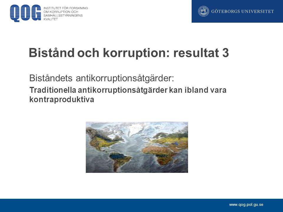 www.qog.pol.gu.se Bistånd och korruption: resultat 3 Biståndets antikorruptionsåtgärder: Traditionella antikorruptionsåtgärder kan ibland vara kontrap