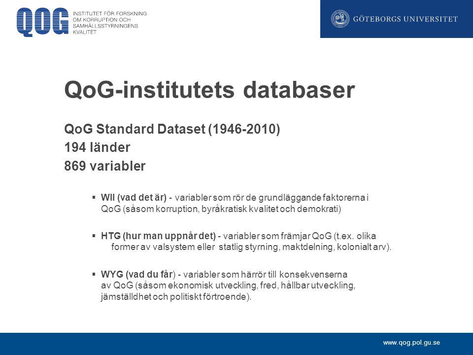 www.qog.pol.gu.se QoG-institutets databaser QoG Standard Dataset (1946-2010) 194 länder 869 variabler  WII (vad det är) - variabler som rör de grundl