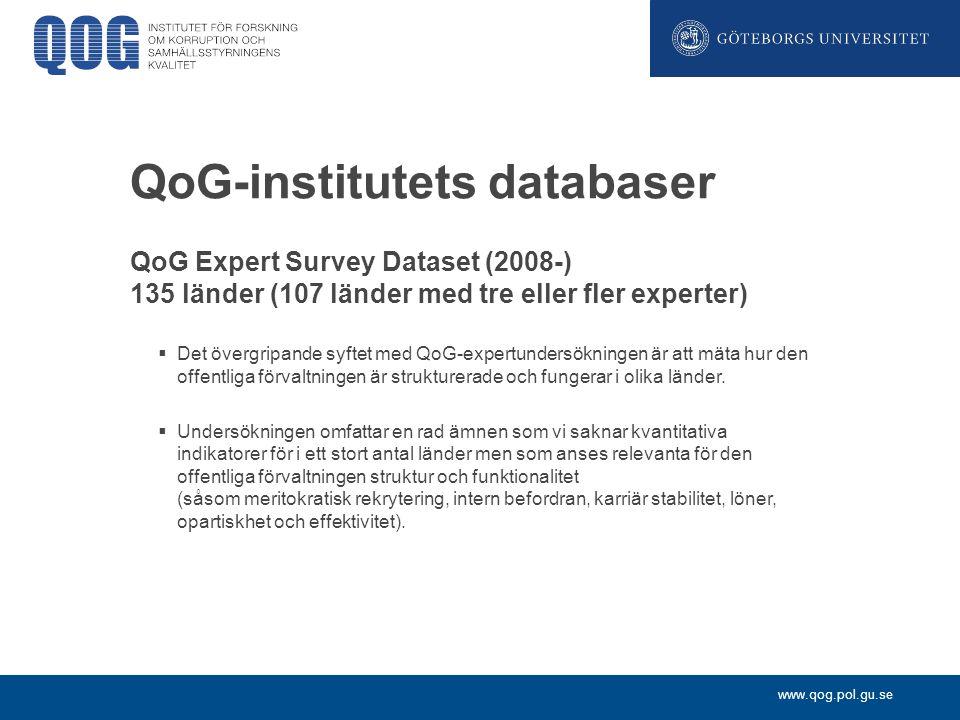 www.qog.pol.gu.se QoG-institutets databaser QoG Expert Survey Dataset (2008-) 135 länder (107 länder med tre eller fler experter)  Det övergripande s