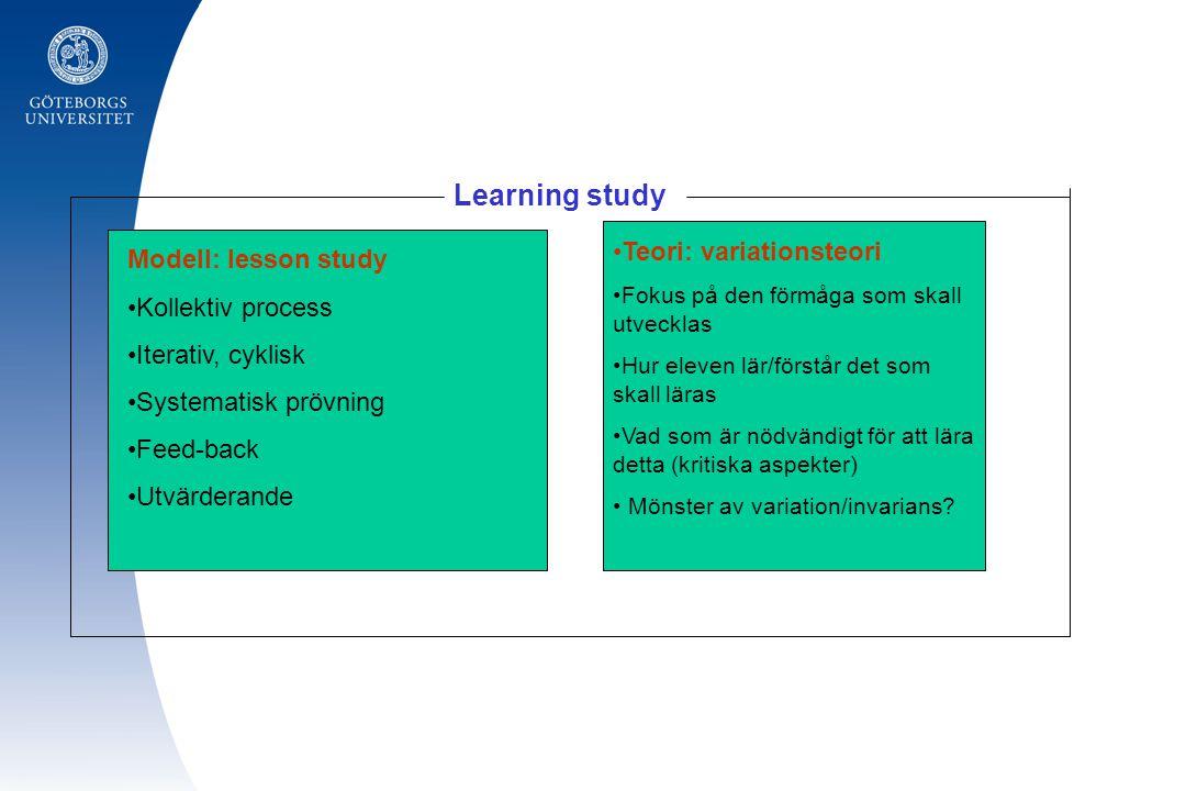 Modell: lesson study Kollektiv process Iterativ, cyklisk Systematisk prövning Feed-back Utvärderande Teori: variationsteori Fokus på den förmåga som skall utvecklas Hur eleven lär/förstår det som skall läras Vad som är nödvändigt för att lära detta (kritiska aspekter) Mönster av variation/invarians.