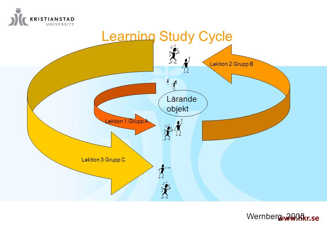 Learning Study Cycle Lektion 1 Grupp A Lektion 2 Grupp B Lektion 3 Grupp C Lärande objekt Wernberg, 2005
