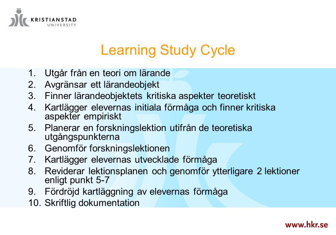 Learning Study Cycle  Utgår från en teori om lärande  Avgränsar ett lärandeobjekt  Finner lärandeobjektets kritiska aspekter teoretiskt  Kartl
