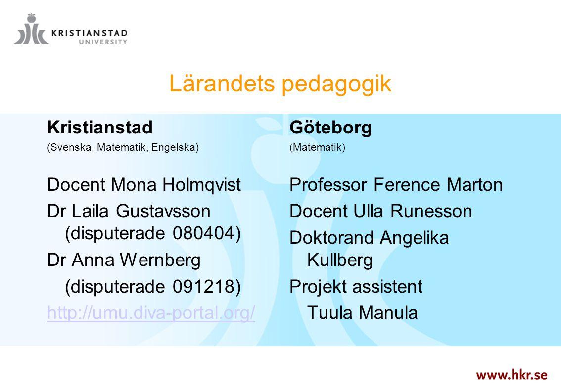 Lärandets pedagogik Kristianstad (Svenska, Matematik, Engelska) Docent Mona Holmqvist Dr Laila Gustavsson (disputerade 080404) Dr Anna Wernberg (dispu