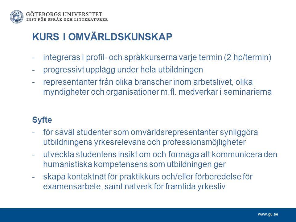 www.gu.se KURS I OMVÄRLDSKUNSKAP -integreras i profil- och språkkurserna varje termin (2 hp/termin) -progressivt upplägg under hela utbildningen -repr