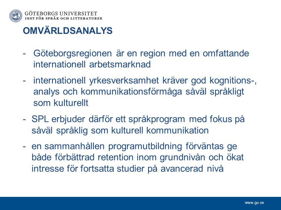 www.gu.se OMVÄRLDSANALYS -Göteborgsregionen är en region med en omfattande internationell arbetsmarknad -internationell yrkesverksamhet kräver god kog
