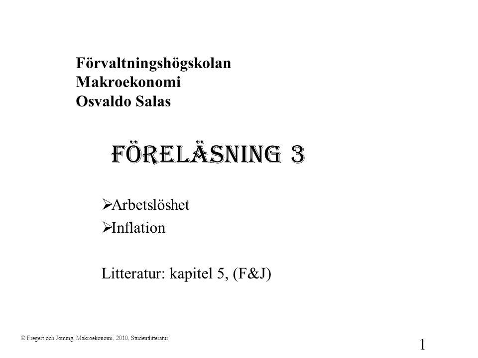 Förvaltningshögskolan Makroekonomi Osvaldo Salas FÖRELÄSNING 3  Arbetslöshet  Inflation Litteratur: kapitel 5, (F&J) © Fregert och Jonung, Makroekon