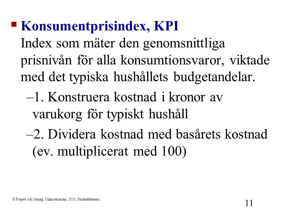 © Fregert och Jonung, Makroekonomi, 2010, Studentlitteratur 11  Konsumentprisindex, KPI Index som mäter den genomsnittliga prisnivån för alla konsumt