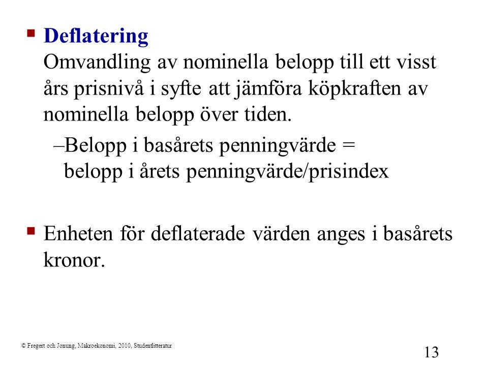 © Fregert och Jonung, Makroekonomi, 2010, Studentlitteratur 13  Deflatering Omvandling av nominella belopp till ett visst års prisnivå i syfte att jä