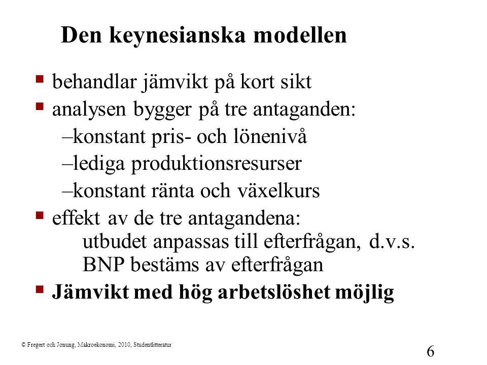 © Fregert och Jonung, Makroekonomi, 2010, Studentlitteratur 6 Den keynesianska modellen  behandlar jämvikt på kort sikt  analysen bygger på tre anta