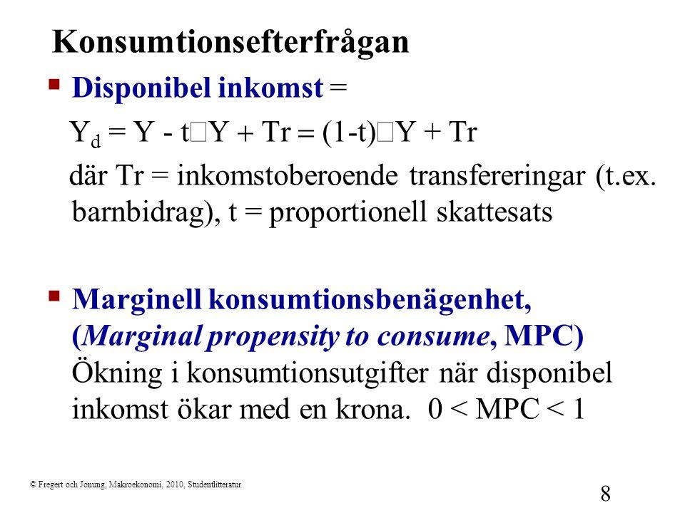 © Fregert och Jonung, Makroekonomi, 2010, Studentlitteratur 8 Konsumtionsefterfrågan  Disponibel inkomst = Y d = Y - t  Y  r  (1-t)  Y + Tr
