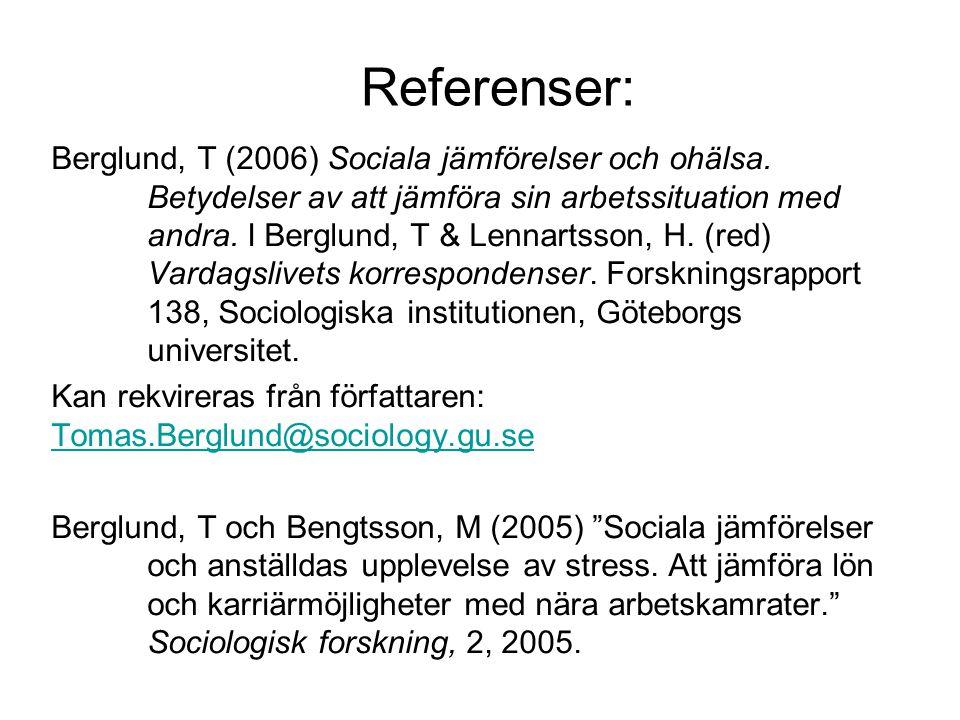 Referenser: Berglund, T (2006) Sociala jämförelser och ohälsa.