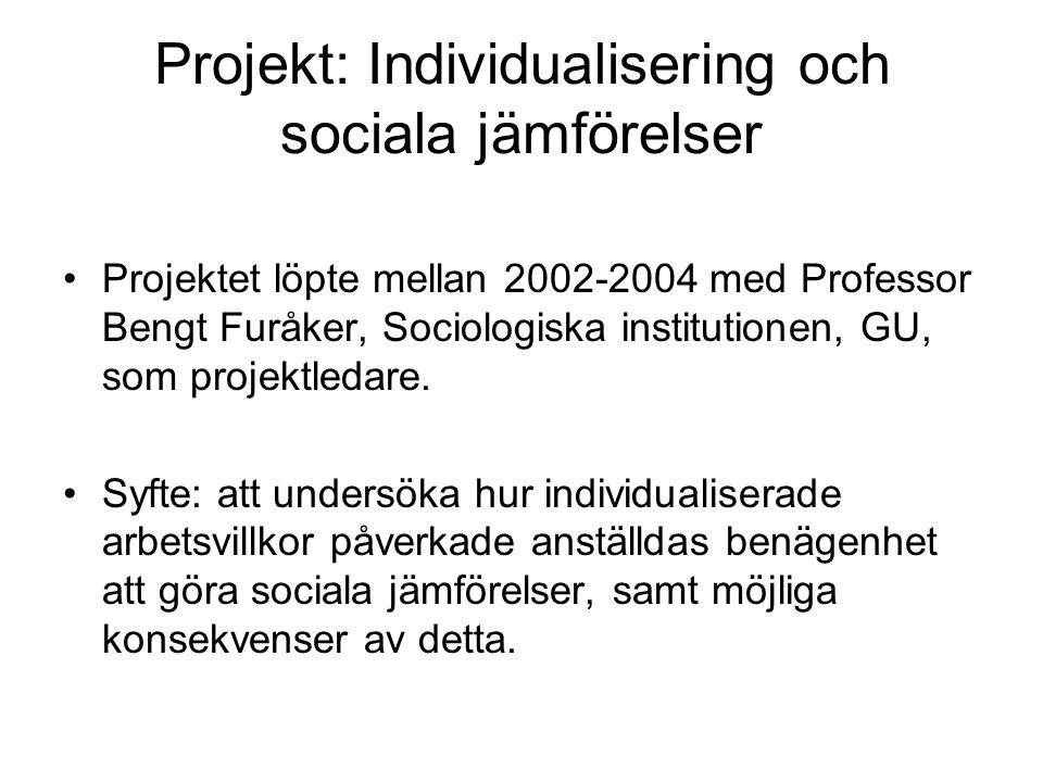 Projekt: Individualisering och sociala jämförelser Projektet löpte mellan 2002-2004 med Professor Bengt Furåker, Sociologiska institutionen, GU, som projektledare.