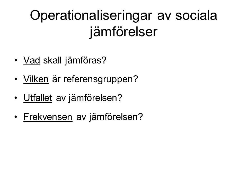 Operationaliseringar av sociala jämförelser Vad skall jämföras.