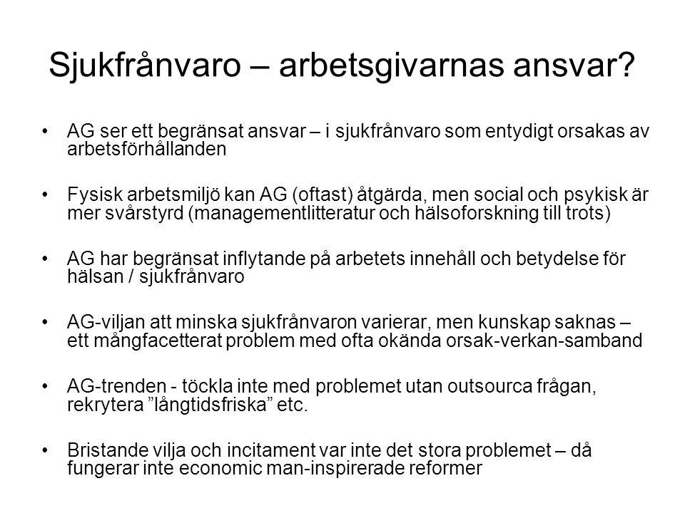 Sjukfrånvaro – arbetsgivarnas ansvar.