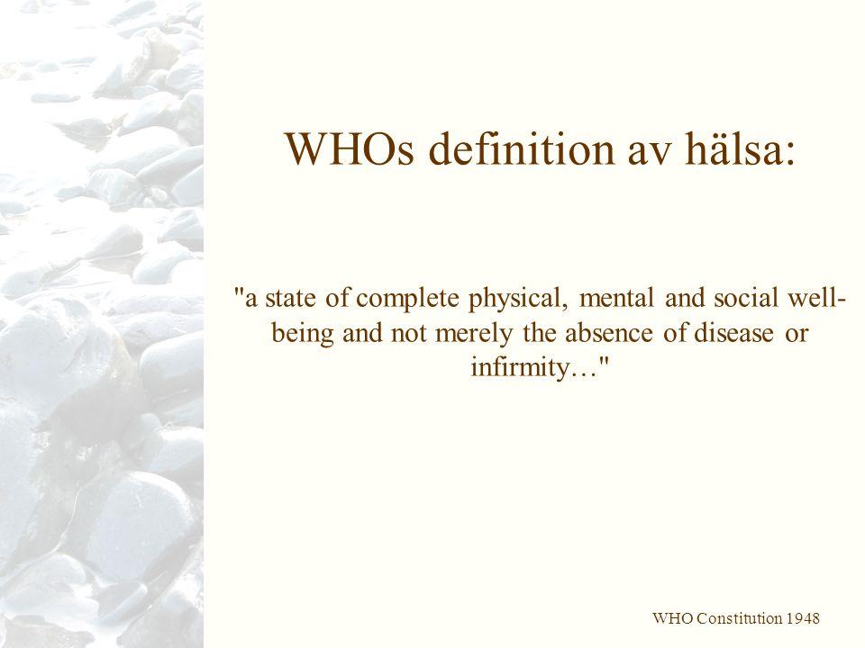 WHOs definition av hälsa: