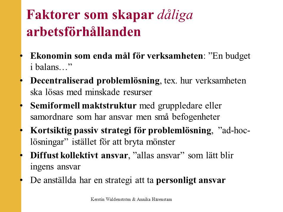 Faktorer som skapar dåliga arbetsförhållanden Ekonomin som enda mål för verksamheten: En budget i balans… Decentraliserad problemlösning, tex.