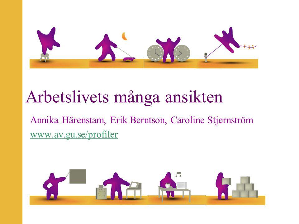 Arbetslivets många ansikten Annika Härenstam, Erik Berntson, Caroline Stjernström www.av.gu.se/profiler