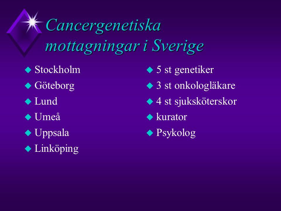 Cancergenetiska mottagningar i Sverige u Stockholm u Göteborg u Lund u Umeå u Uppsala u Linköping u 5 st genetiker u 3 st onkologläkare u 4 st sjuksköterskor u kurator u Psykolog